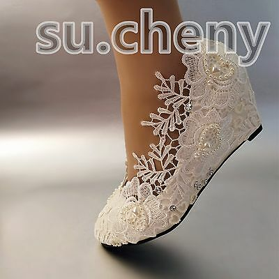 """2"""" Wedge white light ivory pearls lace crystal Wedding shoes Bridal size 5-12"""