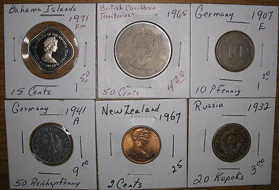 Lot,6 Foreign/World Coins 1907-1971,VF to Proof*