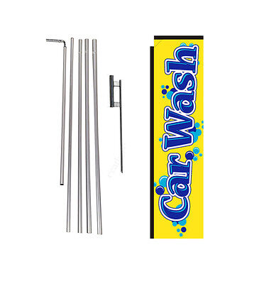 Car Wash yellow 15' Advertising Rectangle Banner Flag w/ pole+spike swooper