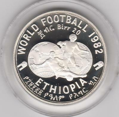 1982 Ethiopia 20 Birr Silver Proof Crown Soccer Futbol Roaring Lion In Capsule