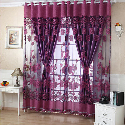 Peony Floral Tulle Voile Window Curtain Panel Sheer Drape Scarf Valances