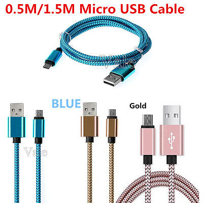0.5M Strong Braided Nylon Fast Charger Micro USB Data Snyc Charging Cable Cord