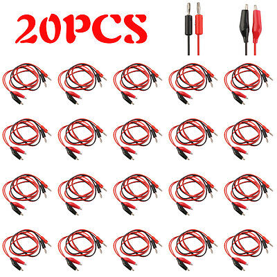 1~20pcs Alligator Probe Test Leads Clip Pin to Banana Cable for Multimeter DX