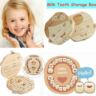 Boy & Girl Tooth Box Organizer For Baby Save Milk Teeth Wooden Storage Box Gift