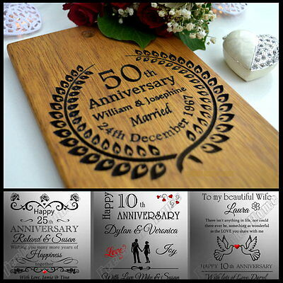 Personalised Wooden Card Wedding Anniversary Gift 20th 25th 30th 40th 50th 60th