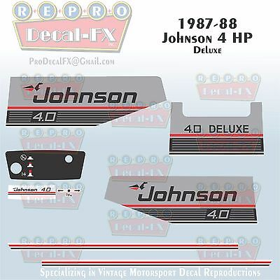 1987-88 Johnson 4 HP Deluxe Sea-Horse Outboard Reproduction 9 Pc Vinyl Decals