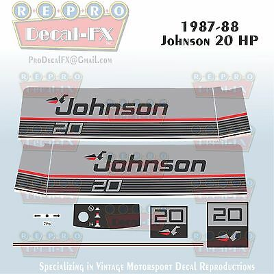 1985 Johnson 20 HP Sea-Horse Outboard Reproduction 11 Piece Marine Vinyl Decals