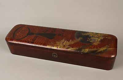 "An Unusual Antique Japanese Lacquered ""Neck Tie & Button Box"", (Signed)."