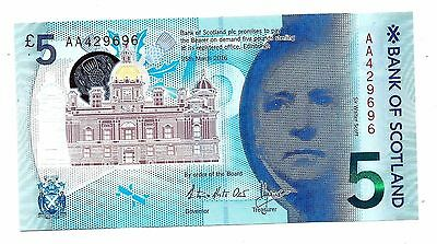 """Bank of Scotland"" 5 pound,2016,UNC""RARE First Prefix AA+Serial Number Repeater"""