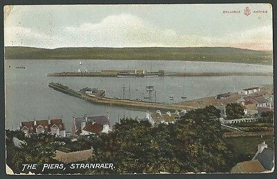 Stranraer Dumfries & Galloway The Piers Vintage WR&S Printed Postcard