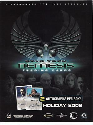 2002 Star Trek NEMESIS trading cards sell sheet