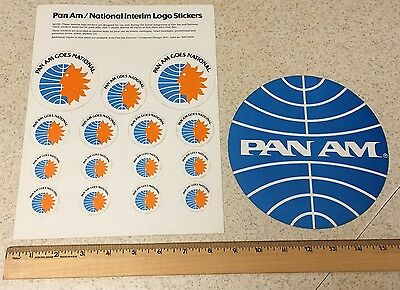 Vintage Pan Am American National Airlines Decal Sheet and Sticker Logo