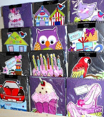 HANDMADE CARDS x72  JUST 39p, 12 designs x 6 'SHAPED' birthday and occasions