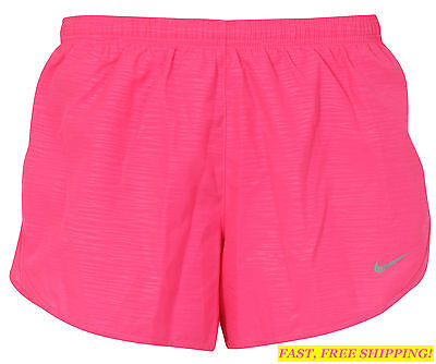 NEW NIKE Modern Embossed TEMPO Women's Running Shorts SIZE XS 719759 NEON PINK
