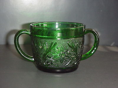 Vintage Anchor Hocking Forest Green Sandwich Glass Double Handled Sugar Bowl