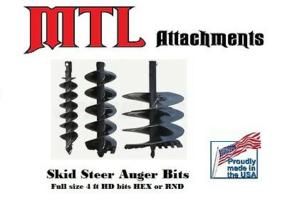 """MTL Attachments 48"""" x 24"""" skid steer HD Auger Bit w/2-9/16"""" Round -Free Shipping"""
