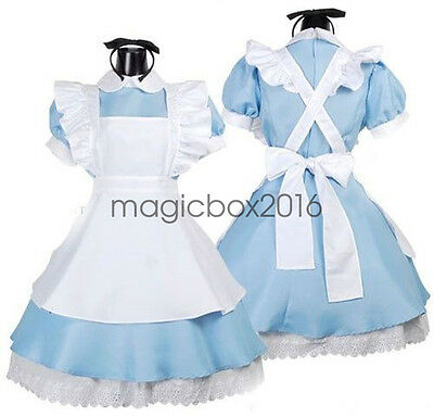 Hot Adult Alice In Wonderland Costume Cosplay Women Girl Maid Fancy Dress Lolita