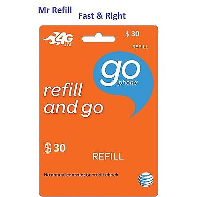 AT&T Go Phone $30 Refill - fast & right