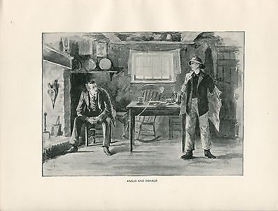 Seaman and Businessman in a cottage 1892 typogravure antique print