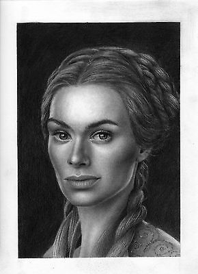 Game of Thrones Cersei Lannister original graphite drawing 9×12
