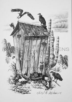 Pencil Drawing Wildlife Art, Western Print Of Buzzards On Outhouse Bathroom Art
