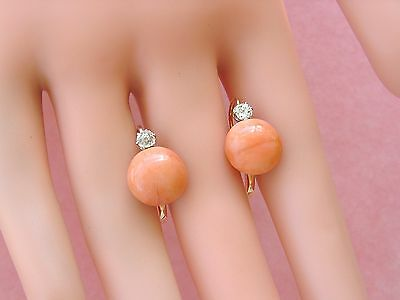 ANTIQUE VICTORIAN .34ctw OLD MINE DIAMOND 11mm BUTTON CORAL 18K EARRINGS c1880