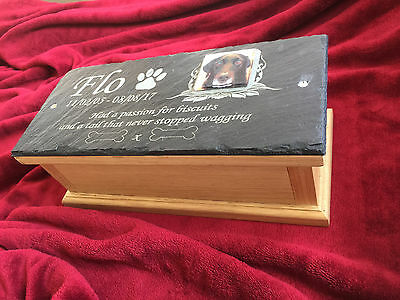 Pet Memorial Ashes Box & Personalised Photo Plaque - Oak Casket Urn Large Dog