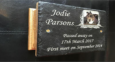 Oak Casket Urn Large Dog Pet Memorial Ashes Box & Personalised Photo Plaque