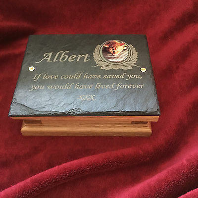 Memorial Ashes Box Urn & Personalised Photo Plaque Mini Pet Toy Dog, Cat, Rabbit