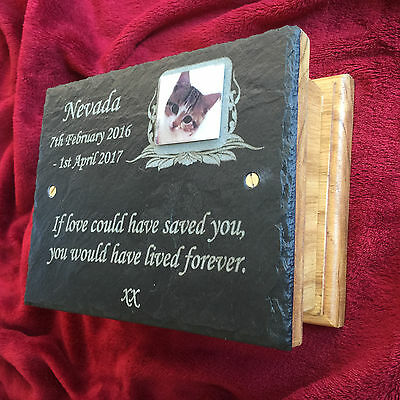 Pet Memorial Ashes Box & Personalised Photo Plaque Small Dog Cat Hamster Rabbit