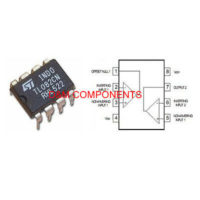 TL082 CN Low Noise J-FET Dual Operational Amplifiers, Pack 2, 5 or 10