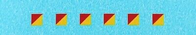Dinky-Spares   674 Austin Champ   3mm Signs Red/Yellow   Diagonal Decals
