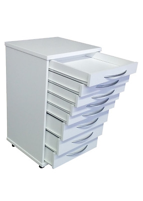 White Doctors Mobile Portable Dental Medical Cabinets Cart 8 Drawers.W/Castors