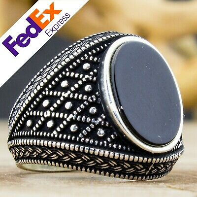 925 Sterling Silver Turkish Handmade Ottoman Onyx Stone Men's Luxury Ring