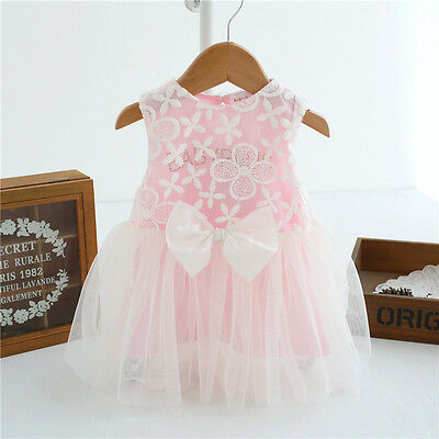 Newborn Toddler Baby Girl Bowknot Tutu Party Birthday Gift Dress Outfits Skirt