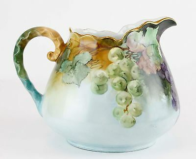 Hohenzollern Beautiful Painted Grapes Gilded Pinch Handle Water Pitcher H06