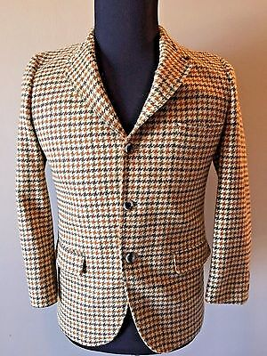 Vtg Palm Beach Wool Rust Brown Houndstooth Boys Sportcoat Jacket sz 18 USA CJ0