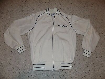 Vintage Mens S Swingster Goodyear Cream White Zip Up Jacket