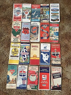 20 Vintage Gas Station Road Maps Conoco Republic Esso Texaco Husky DX Phillips