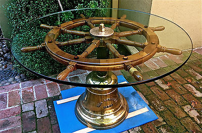 Antq Sea Serpent 1850 Ships Brass Bell Helm Wheel Glass Table Top One-of-a-Kind!