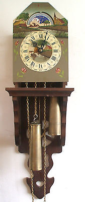 Wall Clock Painted Metal Face Dutch Anchor Pendulum 2 Weights Driven Movement GW