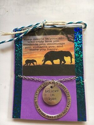 Believe In Love    Necklace In Gift Package Inspirational Quote