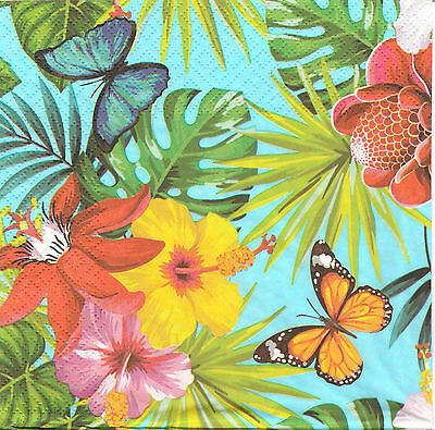 2 Serviettes en papier Hibiscus Decoupage Paper Napkins Jungle Fever