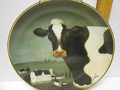 """American Folk Art Collection Cow Country Franklin Mint 8 1/4"""" Plate"""