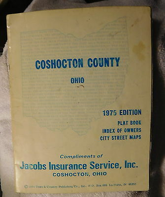 Vintage Coshocton County Ohio 1975 Plat Map Books w/ Index of Land Owners