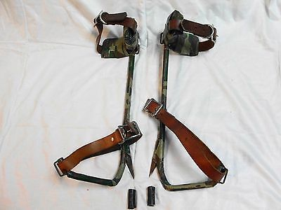 Vintage Tree Climbing Pole Spikes marked 21 & 23 on Leather Straps sharp