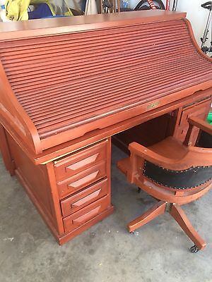 Antique Roll Top desk and chair