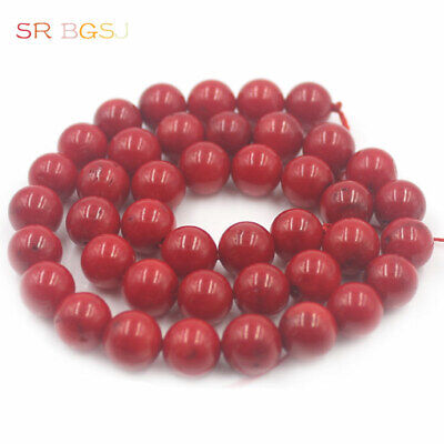 """Natural Round  Red Sea Bamboo Coral Gemstone Jewelry Beads 15"""" 2 4 6 8 10 12mm"""