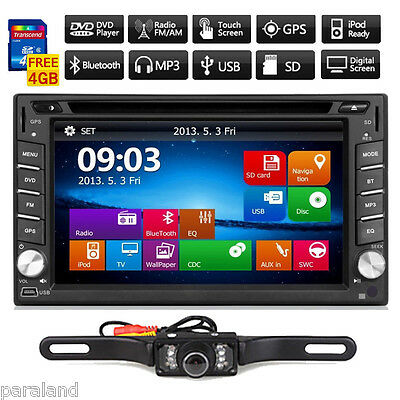 GPS Navigation 6.2'' Double 2Din Car Stereo DVD Player MP3 iPod BT USB SD+Camera