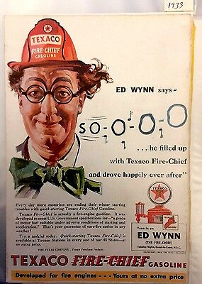1933 Texaco Fire Chief Gasoline Ed Wynn 1 page color